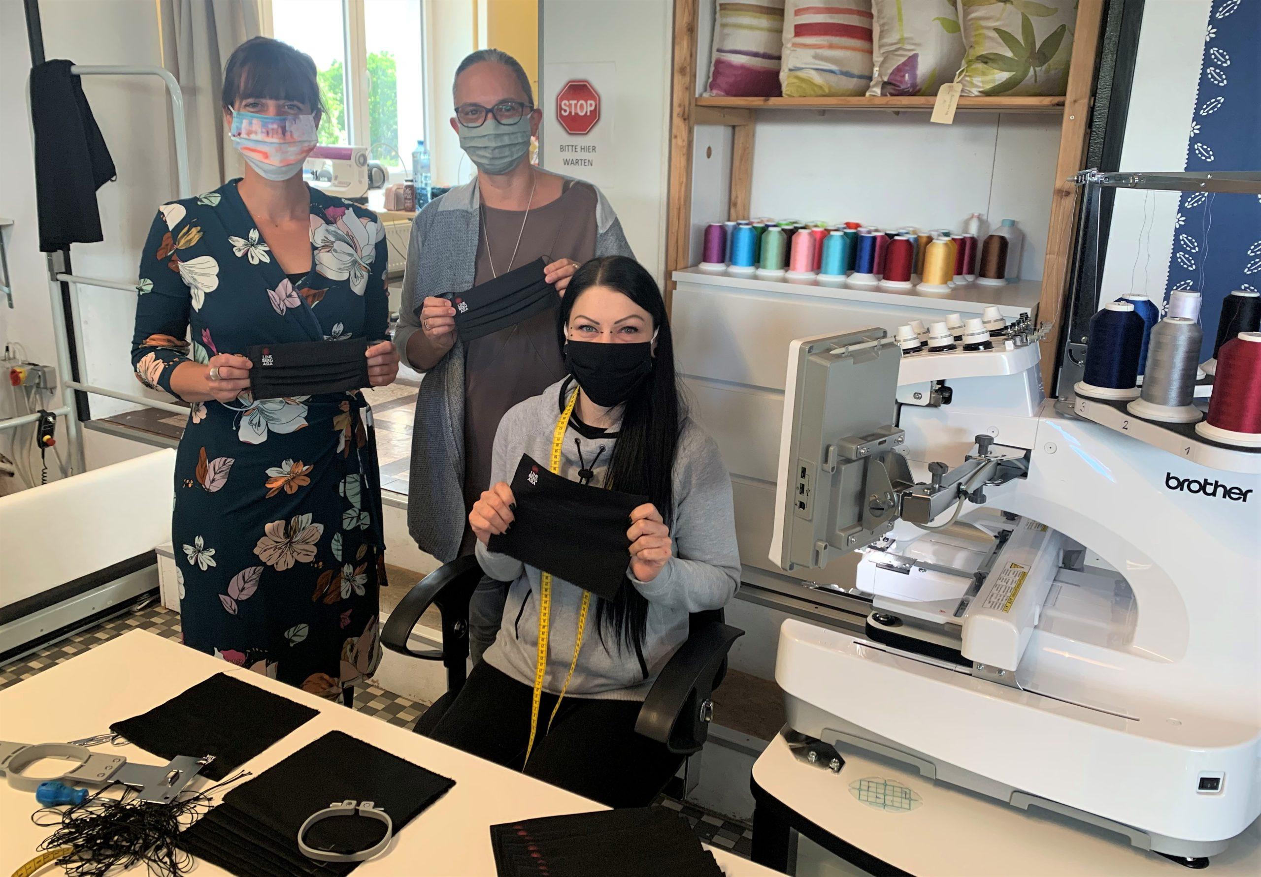'Nesib Frauen' nähen in Neunkirchen Mund-Nasenschutz-Masken für Linsberg Asia